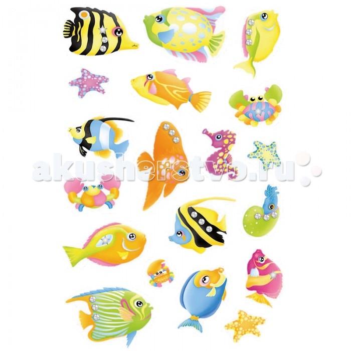 Herma Наклейки объемные 16х9 см Magic Южные рыбки со стразами
