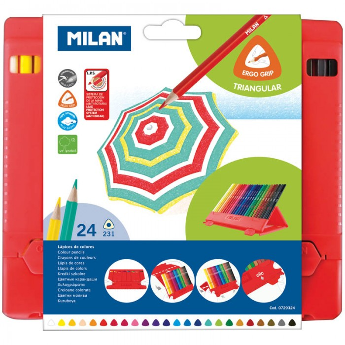 Milan Карандаши 231 24 цвета пластиковый пенал