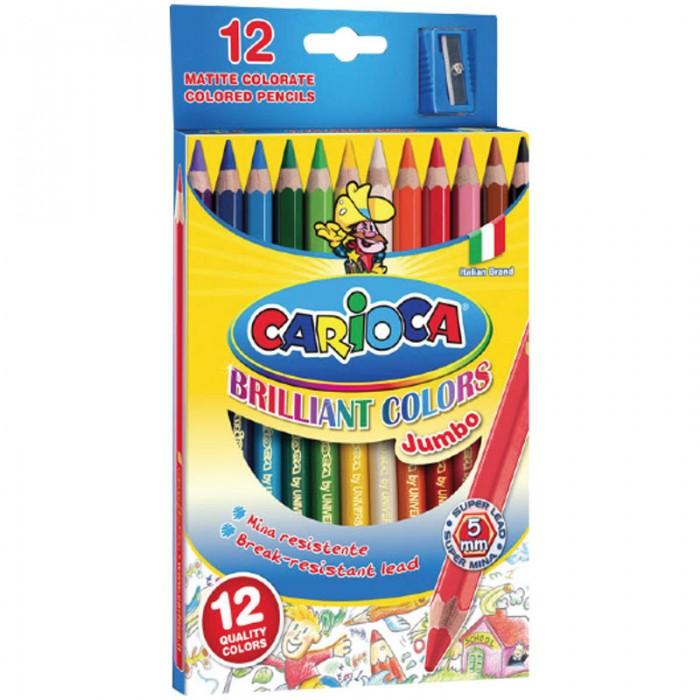Carioca Карандаши Jumbo 12 цветовКарандаши Jumbo 12 цветовКарандаши Carioca Jumbo 12 цветов  Цветные карандаши в картонной коробке. Прочный грифель. Яркие цвета. Мягкое письмо и ровное закрашивание. Натуральные красящие пигменты грифеля. Благодаря утолщенному корпусу работать с карандашами удобно даже детям.  Количество цветов – 12 Материал корпуса – дерево  Форма корпуса – шестигранная Заточено – да<br>