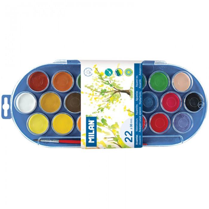 Milan Акварель  с кистью 22 цветаАкварель  с кистью 22 цветаMilan Акварель с кистью 22 цвета  Краски представлены в компактных круглых таблетках. Светоустойчивы, изготовлены из нетоксичных пигментов  Количество цветов – 22 Наличие кисти – да Эффект – нет<br>