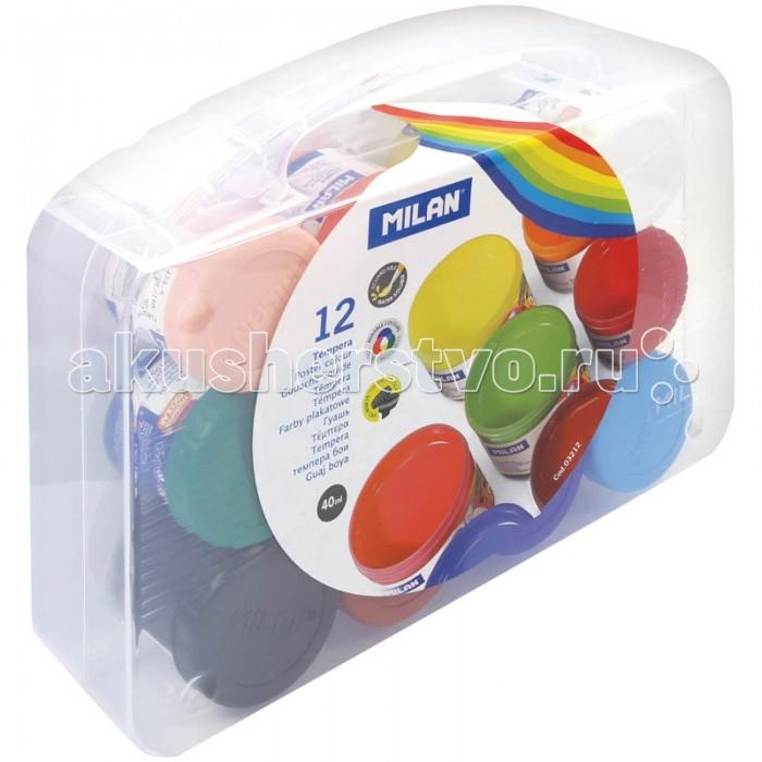 Milan Гуашь с кистью 12 цветов 40 мл пластиковый бокс