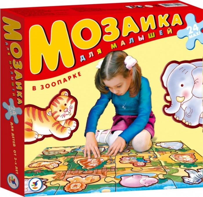 Дрофа Пазлы В зоопарке серия Мозаика для малышейПазлы В зоопарке серия Мозаика для малышейКрупные и яркие детали мозаики удобно собирать на полу. Ребёнок научится складывать сюжетную картинку из нескольких частей и подбирать подходящие по форме недостающие фрагменты рисунка. Игры развивают зрительное восприятие, образное мышление и мелкую моторику рук, расширяют кругозор, познакомят малышей с разными животными, морскими обитателями, буквами, цифрами и счётом в пределах десяти. Набор из 12 крупных пазловых элементов, внутри каждого пазла вырублена фигурка. Можно использовать как рамку с фигуркой-вкладышем. Размер собранного поля 70х50 см.<br>
