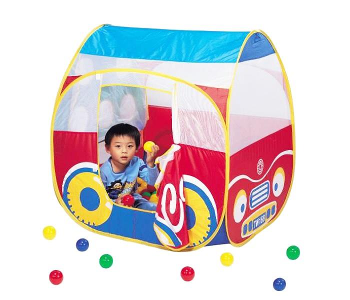Calida Домик-палатка Автомобиль + 100 шаров 654Домик-палатка Автомобиль + 100 шаров 654Компактно складывающийся игровой домик с шарами. Подходит для игр дома, на даче, в детских учреждениях. В палатке открывающаяся дверь на липучке, окошки-вставки из сетчатой ткани. На одной из стенок палатки 5 круглых отверстий-окошек и 3 небольших отверстия, изображающих окошки в автобусе: для игры в бросание мяча. При желании окошки можно закрыть сетчатой тканью. Одновременно могут играть несколько детей. Развивает фантазию, помогает в изучении цветов, кроме того, барахтанье в шариках благотворно влияет на здоровье и развитие детей.  Для детей от 1 года (дети до 3-х лет играют строго под присмотром взрослых!)  Размеры домика (см): 101х84х96 Размеры коробки (см): 38х33х44 Вес коробки (кг): 5,1  Материал: домик - нейлон, мячики - пластмасса  В комплекте: каркасные трубки, палатка, 100 шаров (синие, желтые, зеленые, красные), клюшка для игры в гольф, лунка, флаг<br>