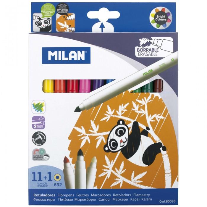 Фломастеры Milan 632 11 цветов со стирателем