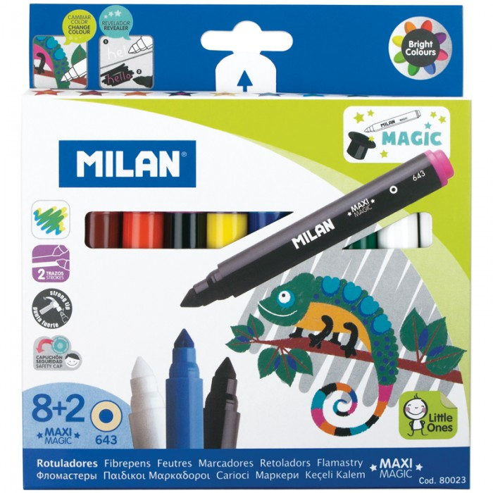 Фломастеры Milan 643 Maxi Magic меняющие цвет 10 шт.643 Maxi Magic меняющие цвет 10 шт.Milan Фломастеры 643 Maxi Magic меняющие цвет 10 шт.  Утолщенные фломастеры со стойким наконечником можно использовать для рисования линий толщиной от 1 мм до 3,25 мм  Чернила на водной основе В коробке 8 ярких разноцветных фломастеров и 2 волшебных Одним из них можно рисовать поверх изображения, сделанного цветным фломастером, при этом будет изменяться цвет рисунка Вторым можно писать секретные сообщения Чтобы потом прочитать эти сообщения нужно поверх надписи провести любым из цветных фломастеров, входящих в набор.  Количество цветов – 10 Диаметр корпуса – 14,3 Длина корпуса с колпачком – 135 мм Форма корпуса – круглая Тип наконечника – конический Толщина линии – 1-7 мм Тип чернил – смываемые Тип поверхности – бумага Основа – водная Вентилируемый колпачок – да<br>