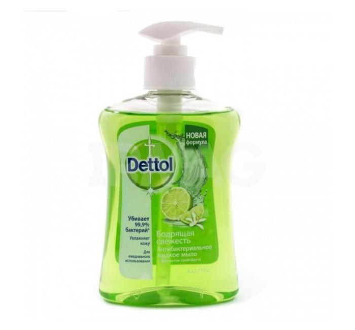 Dettol Бодрящая свежесть с экстрактом грейпфрукта Антибакт.жидкое мыло для рук 250 млБодрящая свежесть с экстрактом грейпфрукта Антибакт.жидкое мыло для рук 250 млБодрящая свежесть с экстрактом грейпфрукта Антибакт.жидкое мыло для рук 250 мл.  Защищает от целого ряда бактерий  Клинически подтверждено мягкое воздействие на кожу<br>