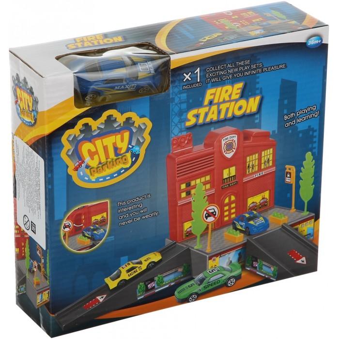 Dave Toy Игровой набор Пожарная станция с 1 машинкой