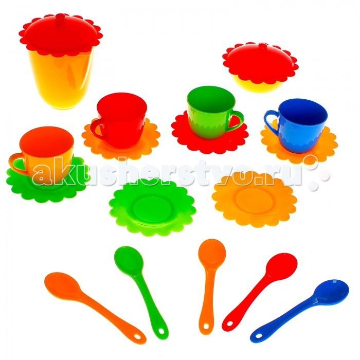 Tigres Набор посуды Ромашка на 4 персоны (большой)Набор посуды Ромашка на 4 персоны (большой)Tigres Набор посуды Ромашка на 4 персоны (большой). Набор игрушечной посуды Ромашка 19 элементов - прекрасный выбор для девочки, который поможет ей в игровой форме изучить правила этикета и сервировки стола. Чашки, тарелки, ложки и чайник в ярком и красивом дизайне позволят устроить чаепитие на 4 персоны.  Игрушечная посудка Ромашка от Тигрес может использоваться в посудомоечной машине и микроволновой печи. Она изготовлена из качественного, прочного и безопасного пищевого пластика.  Состоит из 19 элементов.  Цвета в ассортименте<br>