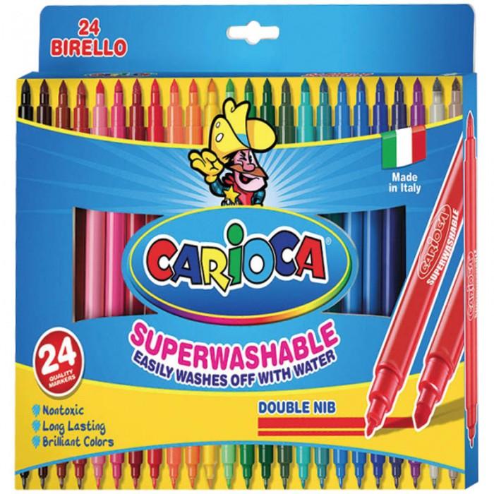 Фломастеры Carioca Berillo двухсторонние 24 цветаBerillo двухсторонние 24 цветаCarioca Berillo двухсторонние 24 цвета  Двусторонние фломастеры с наконечниками разной толщины. Стреловидный наконечник предназначен для выделения надписей и закрашивания поверхностей, в то время как тонкий удобен для рисования контуров. Наконечники диаметром 2,5 и 5 мм. Чернила на водной основе. Картонная коробка. 24 цветов в наборе.  Количество цветов – 24 Диаметр корпуса – 10 Длина корпуса с колпачком – 165 мм Форма корпуса – круглая Тип наконечника – конический Толщина линии – 1-4,7 мм Тип чернил – смываемые Тип поверхности – бумага Основа – водная<br>