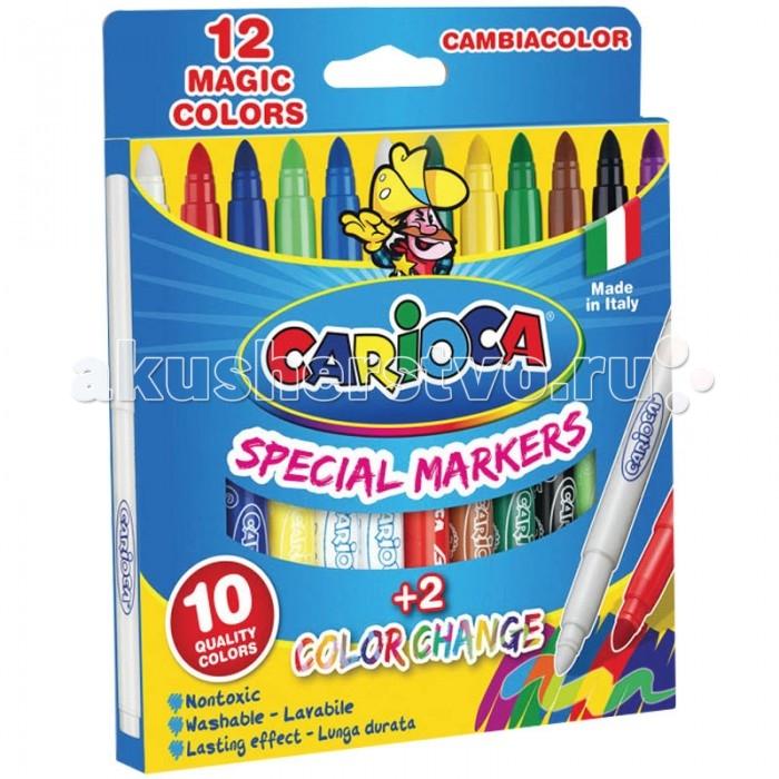 Фломастеры Carioca CambiaColor меняющие цвет 12 шт.CambiaColor меняющие цвет 12 шт.Carioca CambiaColor меняющие цвет 12 шт.  В наборе 10+2, меняющих цвет фломастеров. Один фломастер имеет два цвета. Для изменения цвета нужно использовать фломастер Magic Pen. Диаметр пишущего узла 5 мм. Вентилируемый безопасный колпачок.  Количество цветов – 12 Диаметр корпуса – 12 Длина корпуса с колпачком – 145 мм Форма корпуса – круглая Тип наконечника – конический Толщина линии – 1-5 мм Тип чернил – смываемые Тип поверхности – бумага Основа – водная<br>