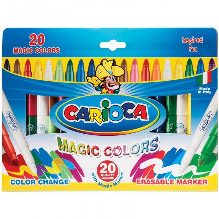 Фломастеры Carioca CambiaColor меняющие цвет 20 шт.CambiaColor меняющие цвет 20 шт.Carioca CambiaColor меняющие цвет 20 шт.  В наборе 20+2, меняющих цвет фломастеров. Один фломастер имеет два цвета. Для изменения цвета нужно использовать фломастер Magic Pen и белый фломастер для осветления других цветов. Диаметр пишущего узла 5 мм. Вентилируемый безопасный колпачок.  Количество цветов – 20 Диаметр корпуса – 12 Длина корпуса с колпачком – 145 мм Форма корпуса – круглая Тип наконечника – конический Толщина линии – 1-5 мм Тип чернил – смываемые Тип поверхности – бумага Основа – водная<br>