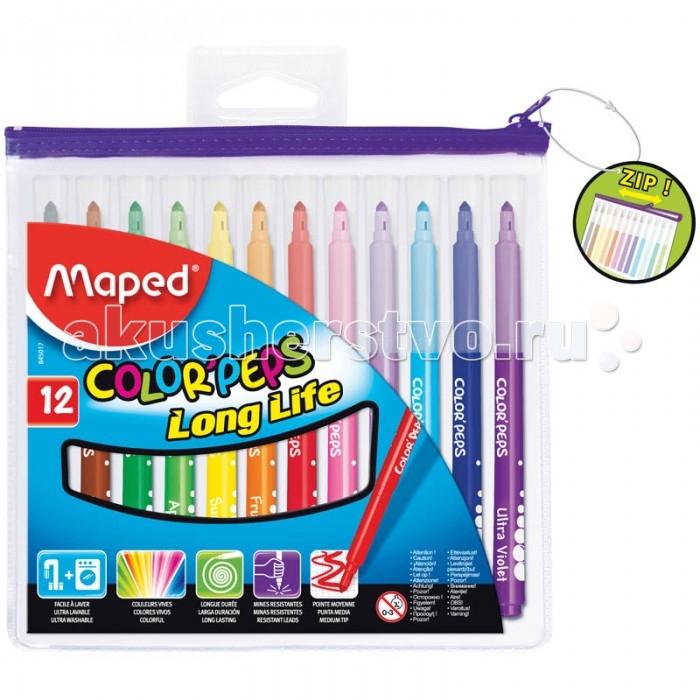 Фломастеры Maped Long Life 12 цветов в футляреLong Life 12 цветов в футляреФломастеры Maped Long Life 12 цветов   Фломастеры COLORPEPS LONG LIFE с треугольным пишущим узлом - для тонкого письма и раскрашивания. Средняя толщина линии -3,6 мм. Треугольный корпус, смываемые чернила, яркие насыщенные цвета, пластиковый футляр на молнии.  Количество цветов – 12 Диаметр корпуса – 9 Длина корпуса с колпачком – 141 мм Форма корпуса – трехгранная Тип наконечника – коническая Толщина линии – 1-3 мм Тип чернил – смываемые Тип поверхности – бумага Основа – водная<br>