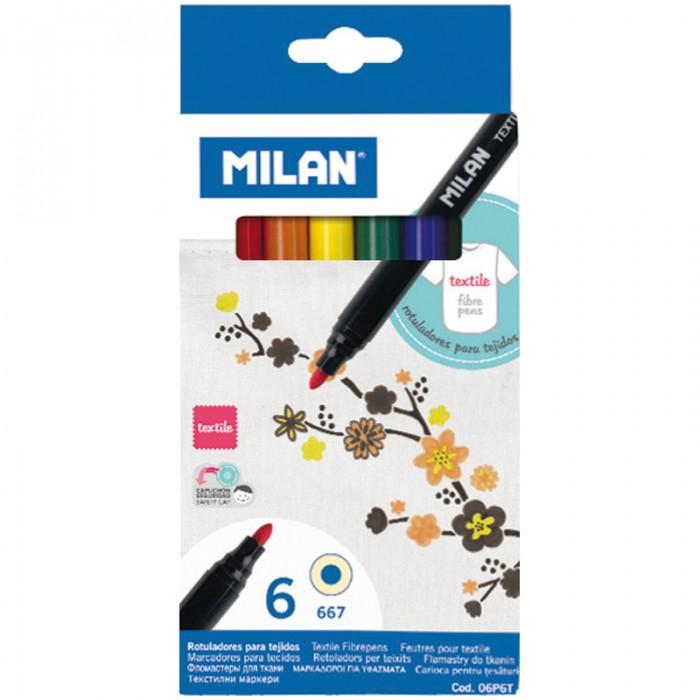 Фломастеры Milan по текстилю 667 6 цветов