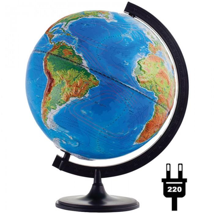 Глобусный мир Глобус физико-политический рельефный 32 см с подсветкой