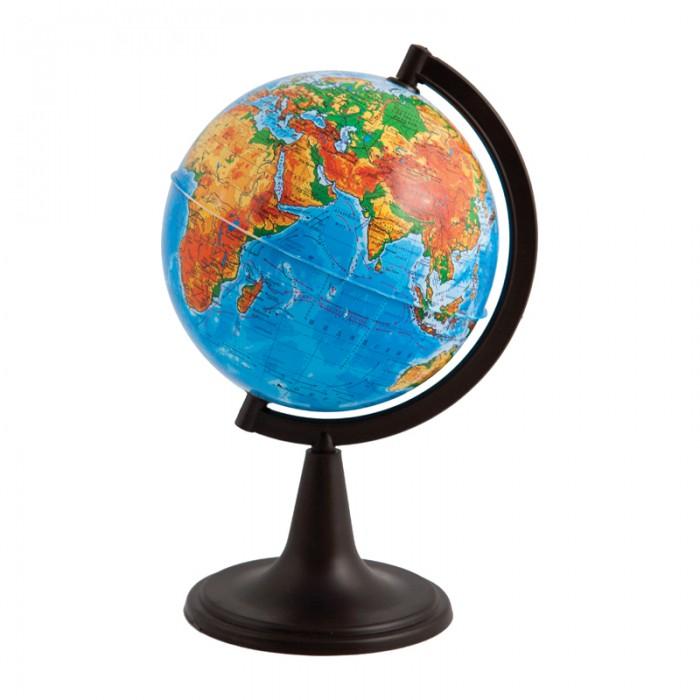 Глобусный мир Глобус физический 12 смГлобус физический 12 смГлобусный мир Глобус физический 12 см.  Глобус с физической картой мира наглядно демонстрирует ребенку, как выглядит наша Земля. На его поверхности цветом обозначены горы, равнины, пустыни и разная глубина океанов. Благодаря компактному размеру глобуса, диаметр 12 см вы можете установить его в любом месте – и даже взять с собой.  Глобус сопровождает ребенка при подготовке к урокам географии, а также позволяет устроить увлекательную игру на знакомство с нашей планетой. Внимательно рассмотрите поверхность и найдите самые высокие горы или самую обширную пустыню. С помощью цветовой шкалы из нижней части определите примерную высоту горной цепи и глубину морей. Информация, полученная таким опытным путем и подкрепленная визуальным восприятием, запоминается гораздо лучше текста из параграфа.<br>