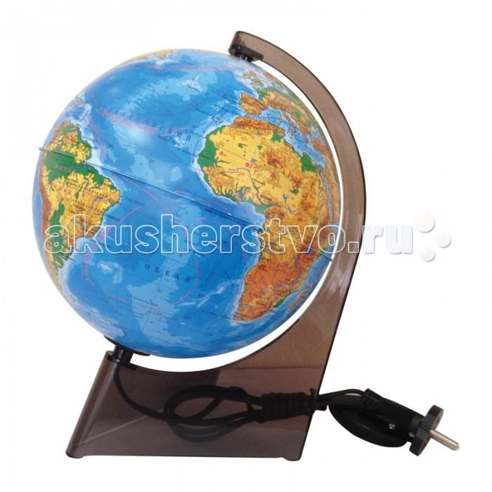 Глобусный мир Глобус физический 21 см с подсветкой на треугольной подставкеГлобус физический 21 см с подсветкой на треугольной подставкеГлобусный мир Глобус физический 21 см с подсветкой на треугольной подставке.  Как устроен окружающий мир, как со стороны выглядит наша планета? Глобус физический с подсветкой диаметром 21 см наглядно демонстрирует это вашему ребенку! Познакомьте его с картой Земли, расскажите об океанах и морях, материках и о том, что на них находится, какие страны соседствуют друг с другом.  Миниатюрная модель Земли устанавливается на специальную подставку и имеет функцию подсветки. Просто включите глобус в розетку, и внутри него загорится лампа! Таким образом, вы сможете использовать его как своеобразный ночник.  На глобус нанесена подробная карта, на ней повторяется внешний вид Земли, ее рельеф и природные особенности. Здесь ваш ребенок видит названия стран, городов, озер, морей и океанов. Помимо этого, на поверхности отражена и прочая полезная информация, знание которой обязательно пригодится ребенку на уроках географии в школе. Например, на карте отмечены холодные и теплые океанические течения, обозначены границы государств и многое другое.<br>