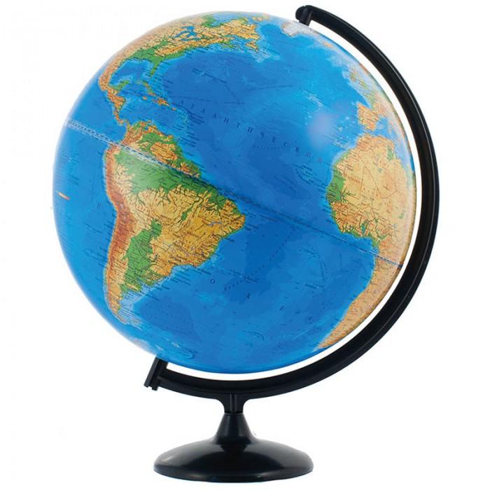Глобусный мир Глобус физический 42 смГлобус физический 42 смГлобусный мир Глобус физический 42 см.  Глобус с физической картой мира наглядно демонстрирует ребенку, как выглядит наша Земля. На его поверхности цветом обозначены горы, равнины, пустыни и разная глубина океанов. Благодаря компактному размеру глобуса, диаметр 32 см вы можете установить его в любом месте – и даже взять с собой.  Глобус сопровождает ребенка при подготовке к урокам географии, а также позволяет устроить увлекательную игру на знакомство с нашей планетой. Внимательно рассмотрите поверхность и найдите самые высокие горы или самую обширную пустыню. С помощью цветовой шкалы из нижней части определите примерную высоту горной цепи и глубину морей. Информация, полученная таким опытным путем и подкрепленная визуальным восприятием, запоминается гораздо лучше текста из параграфа.<br>