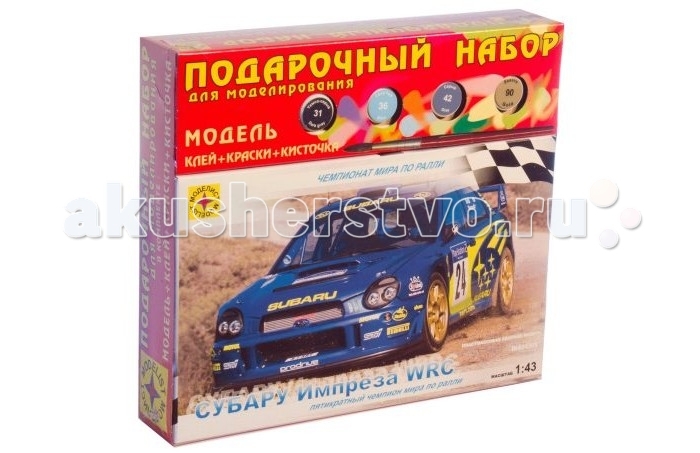 Конструктор Моделист Модель Подарочный набор Автомобиль Субару Импреза WRCМодель Подарочный набор Автомобиль Субару Импреза WRCВ конце 80-х годов руководство японской компании Субару приняло решение начать программу участия в чемпионате мира по ралли. Начало было положено в 1990 году, когда Субару вышла на сцену с моделью Легаси. Спустя три года ее сменила Импреза.   Субару Импреза WRC создавалась на базе серийной машины и специально подготавливалась для участия в чемпионате по ралли. Импреза считается самым удачным автомобилем для ралли, о чем свидетельствуют многие победы пилотов за рулем этой машины.   Из деталей, которые входят в комплект, можно собрать полноценный автомобиль, выполненный в масштабе 1:43.  Моделирование – не только увлекательное, но и полезное хобби, которое развивает мышление и воображение, мелкую моторику рук.  Клей, краски и кисточка входят в комплект.<br>