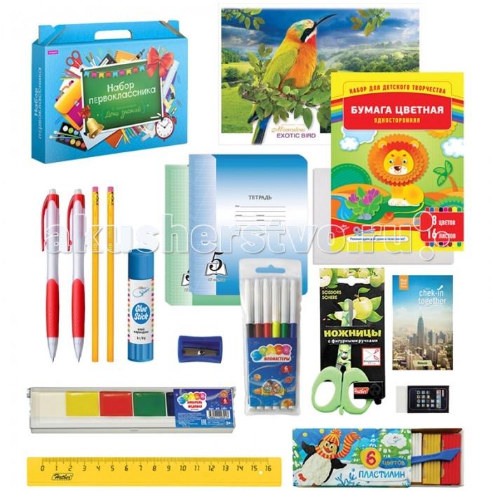 Спейс Набор школьно-письменных принадлежностей Для первоклассника в подарочной упаковке 28 предметов