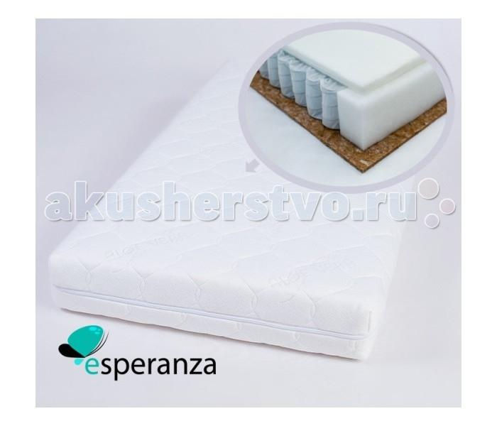 Матрас Esperanza Infantile 120х60х12Infantile 120х60х12Детский матрас Esperanza Infantile - пружинная модель с двусторонней жесткостью. Выполнен из натуральных и экологически чистых материалов.  Матрас состоит из трех слоев: Бикокос (Bi-Cocos) - 1 см Блок независимых пружин - 10 см Холлкон (Hollcon) - 1 см  Основа - Независимый пружинный блок Основное преимущество данного блока - каждая пружина находится в отдельном чехольчике, а не жестко соединена с соседней. Это исключает колебания конструкции, и благодаря воздействию каждой пружины на тело, нагрузка распределяется по всей площади равномерно, что обеспечивает «индивидуальный подход» к разным участкам тела, придавая всему матрасу особо выраженный анатомический эффект.  Бикокос - (50% кокосовое волокно, 50% струттофайбер) соединил в себе лучшие качества материалов на основе полиэфирных волокон и экологичность натурального кокосового волокна. Способность нового материала Bi-Cocos поддерживать влагообмен во время сна открывает новые перспективы в создании матрасов. Оптимальные физико-механические характеристики нового материала Bi-Cocos обеспечивают увеличение его сроков эксплуатации. Bi-Cocos не пахнет и не вызывает аллергических реакций. Материал жестче чем кокосовая койра.  Объемный нетканый материал «Hollcon» изготовлен по уникальной технологии. Уникальность заключается в вертикальной укладке волокон, которая придает материалу улучшенную. Bосстанавливаемость объема по сравнению с другими наполнителями, волокна при этом располагаются наиболее выигрышно относительно нагрузки на полотно в целом, т. к. каждое из них представляет собой маленькую пружинку. Структура наполнителя Hollcon активно сопротивляется сжатию – это позволяет моментально восстановить форму после деформации. Обеспечивая длительную эксплуатацию изделия.<br>
