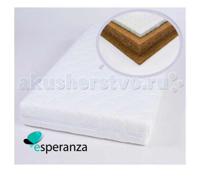 Матрас Esperanza Tenerezza 120х60Tenerezza 120х60Детский матрас Esperanza Tenerezza - трехслойный матрас Кокос + Бикокос + Латекс. Мягкий с одной стороны и жесткий с другой.  Бикокос - (50% кокосовое волокно, 50% струттофайбер) соединил в себе лучшие качества материалов на основе полиэфирных волокон и экологичность натурального кокосового волокна. Способность нового материала Bi-Cocos поддерживать влагообмен во время сна открывает новые перспективы в создании матрасов. Оптимальные физико-механические характеристики нового материала Bi-Cocos обеспечивают увеличение его сроков эксплуатации. Bi-Cocos не пахнет и не вызывает аллергических реакций. Материал жестче чем кокосовая койра.  Кокосовая койра представляет собой жесткий материал, который получается путем прессовки волокон кокоса и последующей их технологической обработки при помощи специальной латексной жидкости. Этот материал обладает высокой жесткостью и износостойкостью, что значительно продлевает его срок службы. Такой наполнитель отлично подходит для изготовления ортопедических матрасов. Прессованная монолитная кокосовая плита позволяет принять телу ровное горизонтальное положение.  Слой натурального латекса. Он прекрасно работает на сжатие, имеет способность быстро восстанавливать свой прежний вид и является очень долговечным материалом.<br>