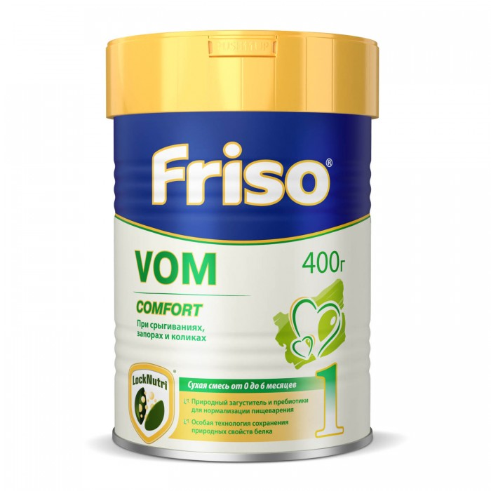 Friso Молочная смесь с пребиотиками Фрисовом 1 с рождения 400 гМолочная смесь с пребиотиками Фрисовом 1 с рождения 400 гСмесь Фрисовом 1 с пребиотиками специально разработана для детей, страдающих привычными срыгиваниями, запорами и сопровождающими их кишечными коликами.    Особенности:  Антирефлюксное действие смеси достигается за счет натуральных пищевых волокон (клейковина рожкового дерева), которые сгущают смесь. По результатам клинических испытаний отмечено, что Фрисовом 1 очень хорошо переносится детьми и является эффективным при диетологической коррекции минимальных пищеварительных нарушений.  Наличие пребиотиков (галактоолигосахаридов) в составе молочной смеси способствует формированию здоровой кишечной микрофлоры.   Длинноцепочечные полиненасыщенные жирные кислоты (докозагексаеновая и арахидоновая кислоты) входят в состав грудного молока, являются эссенциальными компонентами фосфолипидов головного мозга, фоторецепторов сетчатки глаза.  ДЦ ПНЖК оказывают положительное влияние на развитие головного мозга и зрительного анализатора.  Галактоолигосахариды способствуют формированию здоровой кишечной микрофлоры (стимулируют рост бифидо- и лактобактерий), что является важным фактором для поддержания нормальной моторики кишечника. Нуклеотиды способствуют созреванию иммунной системы, стимулируют развитие мозга и улучшают регенерацию кишечного эпителия.   Состав: деминерализованная молочная сыворотка, растительные масла, лактоза, обезжиренное сухое молоко, концентрат сывороточного белка, галактоолигосахариды, мальтодекстрин, нуклеотиды, смесь витаминов, минеральных солей и микроэлементов, таурин, холин, карнитин, инозитол.  Может применяться одновременно (в одной бутылочке) со смесью Фрисолак Gold 1 в любом соотношении, чтобы индивидуально подобрать густоту смеси.  Необходима консультация специалистов. Молочная смесь предназначена для питания детей с рождения.<br>