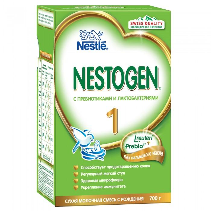 Nestogen 1 Заменитель с рождения 700 г1 Заменитель с рождения 700 гСмесь 1 с рождения 700 г содержит белковый компонент, приближенный к составу грудного молока, а также сбалансированный комплекс витаминов и минеральные вещества для гармоничного роста и развития.   Особенности: Содержит натуральные пищевые волокна Prebio® (пребиотики ГОС/ФОС), которые помогают пищеварению и способствуют формированию регулярного стула.  Лактобактерии L.reuteri, входящие в состав смеси, помогают созреванию пищеварительной системы, способствуют становлению здоровой микрофлоры и эффективно уменьшают колики, срыгивания и дискомфорт у малыша.  Продукт изготовлен из сырья, произведенного специально одобренными поставщиками, без использования генетически модифицированных ингредиентов, консервантов, красителей и ароматизаторов.  Продукт следует готовить непосредственно перед каждым кормлением.  Состав: Обезжиренное молоко, деминерализованная молочная сыворотка, мальтодекстрин, лактоза, смесь растительных масел (низкоэруковое рапсовое, подсолнечное, подсолнечное высокоолеиновое, кокосовое), молочный жир, пребиотики (галактоолигосахариды (ГОС) и фруктоолигосахариды (ФОС)), соевый лицитин, цитрат кальция, комплекс витаминов, цитрат калия, хлорид магния, хлорид натрия, хлорид кальция, хлорид калия, таурин, сульфат железа, культура лактобактерий Lactobacillius reuteri не менее 1х106 КОЕ•/г, сульфат цинка, L-карнитин, сульфат меди, йодид калия, селенат натрия.  Изготовлено с использованием обезжиренного молока и молочной сыворотки. Nestogen 1 содержит:Натуральные пищевые волокна (пребиотики), которые облегчают пищеварение и способствуют формированию регулярного и мягкого стула Белковый компонент, который приближен к составу белков грудного молока Незаменимые жирные кислотыВитамины и микроэлементы, необходимые для нормального роста и развития ребенка  Идеальной пищей для грудного ребенка является молоко матери. Перед тем как принять решение об искусственном вскармливании с использованием детской сме