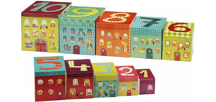 Развивающая игрушка Lilliputiens Набор кубиков-пирамидок Собачка ДжефНабор кубиков-пирамидок Собачка ДжефLilliputiens Набор кубиков-пирамидок Собачка Джеф.  Джеф превращается в гигантскую башню! Сложи все части и построй башню Джефа. Наблюдай за тем, как персонажи забираются на нее по крану. Насчитай от 1 до 10 персонажей на этаже. Сложив части пирамидки друг с другом от самых маленьких до самых больших, ты увидишь, как Джеф едет за рулем разных транспортных средств!<br>