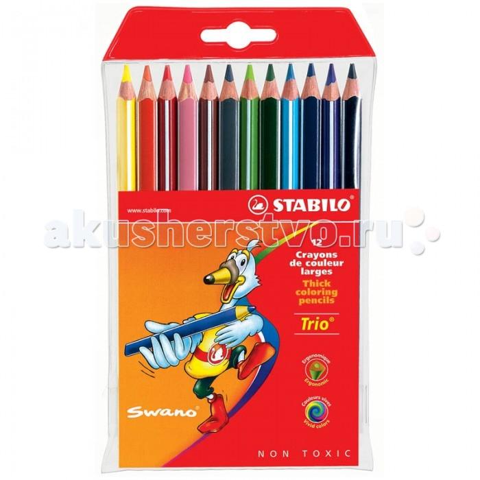 Stabilo Карандаши Trio 12 цветовКарандаши Trio 12 цветовStabilo Карандаши Trio 12 цветов, утолщенные, трехгранные, заточенные, европодвес.  Набор цветных карандашей 12 цветов. Трехгранная форма карандаша предотвращает усталость детской руки при рисовании и позволяет привить ребенку навык правильно держать пишущий инструмент. Подходят для правшей и для левшей.Утолщенный грифель, особо устойчивый к поломкам. В состав грифелей входит пчелиный воск, благодаря чему карандаши легко рисуют на бумаге, не царапая ее и не крошась.<br>