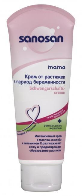 Sanosan Крем от растяжек для беременных 100 млКрем от растяжек для беременных 100 млКрем от растяжек для беременных Sanosan восстанавливает потерянный тонус кожи, предупреждает появление растяжек и образование рубцов.   Содержит вытяжку из семян гибискуса, хитозан и масло жожоба.   Нежный пощипывающий массаж два раза в день с использованием крема от растяжек способствует повышению эластичности соединительной ткани, что предотвращает появление растяжек.   Оказывает антицеллюлитное действие.<br>