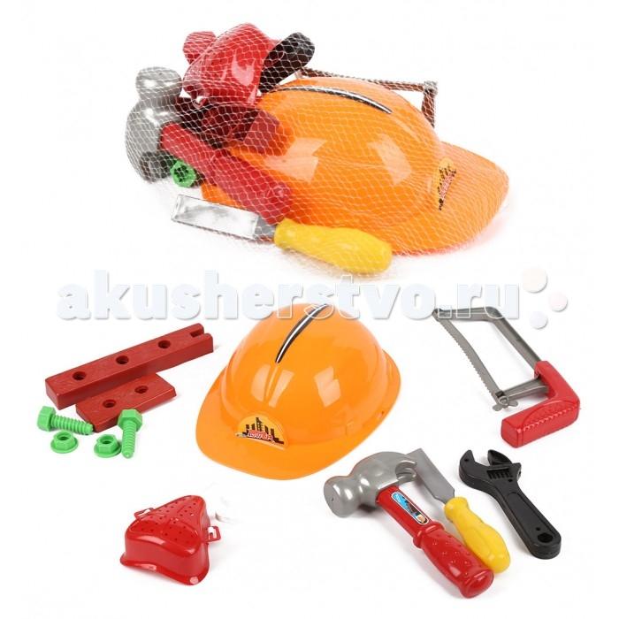 Игруша Игровой набор I-1103844-1Игровой набор I-1103844-1Игруша Игровой набор I-1103844-1 может стать первым мужским инструментом для самого маленького умельца. Легким молоточком так удобно стучать, а удобный ключ пригодится для починки игрушечных машинок.  Особенности: Активные игры с инструментами не только отлично развивают мелкую моторику и координацию движений, но и приучают малыша помогать старшим с самых юных лет.  В процессе игры у ребенка развивается фантазия, воображение и пространственное мышление. В наборе имеются все необходимые инструменты для строительства и ремонта. Защитная каска в наборе является самым привлекательным предметом.<br>
