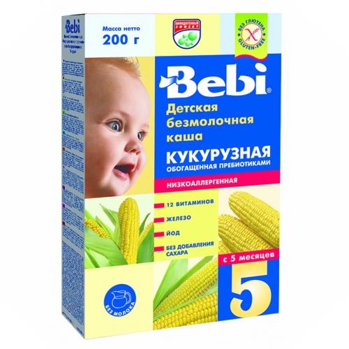Bebi Безмолочная Кукурузная низкоаллергенная каша с пребиотиками с 5 мес. 200 г