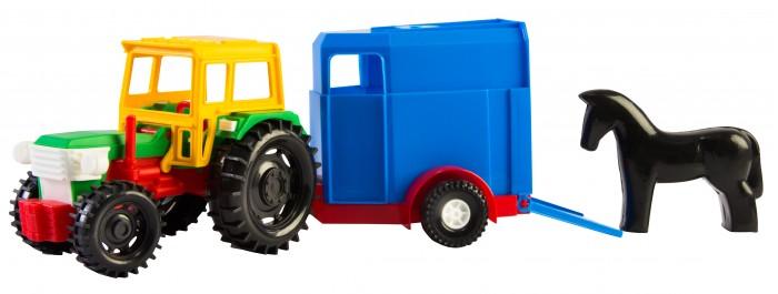 Tigres Трактор с прицепом 39215Трактор с прицепом 39215Tigres Трактор с прицепом 39215. Игрушечная пластмассовая машинка трактор с прицепом отличается прочной и надежной конструкцией. Это прекрасный выбор для детей, которые любят функциональные машинки.  Машинка содержит подвижную кабинку и прицеп, что делает процесс игры увлекательным и познавательным. Ребенок будет играть с удовольствием и развивать фантазию, моторику рук и много других качеств.  Игрушечная машинка прошла испытания в Европе.  Доступны два варианта прицепа в ассортименте: прицеп с лошадкой, кузов.<br>