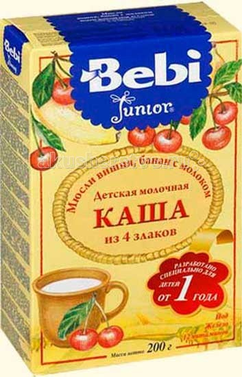 Bebi Молочная каша Junior Мюсли вишня, банан  с 12 мес. 200 г