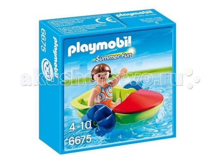 Конструктор Playmobil Аквапарк: Девочка в смешной лодкеАквапарк: Девочка в смешной лодкеPlaymobil Аквапарк: Девочка в смешной лодке.  Игровой набор Девочка в смешной лодке от Playmobil - это прекрасная возможность для малыша окунуться в мир увлекательной игры с самыми разнообразными сюжетами, которые он сам сможет придумать и реализовать. В его распоряжении теперь будет не только богатая фантазия, но и множество дополнительных деталей - прекрасная лодка, которая может плавать в настоящей ванне, и фигурка девочки с подвижными частями тела. Чтобы игра была интереснее, а ее сюжеты еще более захватывающими, к ребенку могут присоединиться его родители или друзья, ведь в большой компании всегда веселее!  Развитие навыков. Во время игры с конструктором развивается воображение, внимание, зрение, тактильное восприятие, мелкая моторика, а также координация движений рук.<br>