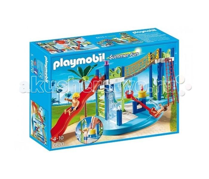 Конструктор Playmobil Аквапарк: Игровая площадкаАквапарк: Игровая площадкаPlaymobil Аквапарк: Игровая площадка.  Развлечения и веселье ждут персонажей Playmobil,ведь с такой игровой площадкой в жаркий летний денек скучать не придется!  Тут есть все для активного отдыха: Перекладина по которой можно взобраться на мостик. Большая,волнистая горка-с которой будет весело сьехать. Помпа-которая качает воду тем самым приводя в действие качелю,так же персонажам Playmobil можно принять душ. В наборе с игровой площадкой вы найдете двух отдыхающих и красивую пальму с кокосами! Игровая площадка идеально совместима с набором Аквапарк!  В наборе: фигурки 2 шт площадка пальма горка мост душ качеля водная помпа поддерживающие конструкции.<br>