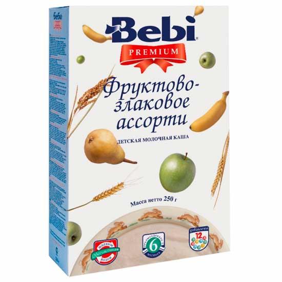 Bebi Молочная каша Premium фруктово-злаковое ассорти с 6 мес. 250 гМолочная каша Premium фруктово-злаковое ассорти с 6 мес. 250 гМолочная каша Premium фруктово-злаковое ассорти содержит рис и пшеницу. Рисоваякрупа отличается высоким содержанием крахмала, белков в ней относительно немного, но по аминокислотному составу они являются наиболее полноценными по сравнению с белками других видов круп. Аминокислоты в рисовой крупе находятся в наиболее благоприятном для организма человека соотношении. Рис не содержит соли, зато он содержит много калия, который нейтрализует действие солей в организме. Пшеница является источником легкоусвояемых углеводов, в меньшей степени - растительных белков и минеральных веществ. А фрукты - это поставщик важнейших микроэлементов (калий, магний, натрий и т.д.), пищевых волокон, антиоксидантов. Каша обогащена железом, йодом, важнейшими витаминами (A, C, E, D, В1, В2, РР). Железо участвует в процессах кроветворения и переноса кислорода к клеткам и тканям организма, а йод важен для умственного развития и роста детей. Каша отличается пониженным содержанием сахара. Состав: цельное сухое молоко 33%, пшеничная крупа 31%, рисовая крупа 11%, сгущенный банановый сок 8,9% (сироп глюкозы, фруктоза, сгущенный сок банана), сгущенный яблочный сок 5,7%, сахар, пюре из груши 4,4 % (сахар, мякоть груши, сироп глюкозы, фруктоза), витамины (ретинола ацетат, холекальциферол, токоферола ацетат, тиамина гидрохлорид, рибофлавин, пиридоксина гидрохлорид, аскорбиновая кислота, кальция пантотенат, фолиевая кислота, никотинамид, фитоменадион, цианокобаламин) и минеральные вещества (дифосфат железа, иодид калия).  Характеристики:Содержит глютенОбогащена важнейшими витаминами и минералами Не содержит вкусовых добавок, ароматизаторов, консервантов, красителей, генетически модифицированных продуктов Благодаря специальной технологической обработке снижается риск возможной аллергии Растворимая без варкиОбъем 5-9 порцийЭнергетическая ценность: 410 ккал<br>