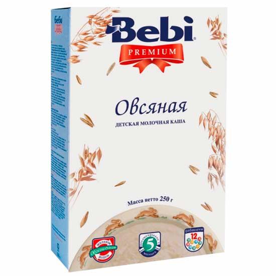 Bebi Молочная Овсяная каша Premium с 5 мес. 250 гМолочная Овсяная каша Premium с 5 мес. 250 гОвсяная молочная каша Premium - это каша высшего качества, относящиеся к категории продуктов экстра-класса. Приготовлены из 100% натуральных, тщательно отобранных ингредиентов. Они имеют тонкий вкус и нежную консистенцию. Bebi Premium - это оптимальное сочетание 12 витаминов и минералов, а также дополнительное обогащение железом и йодом, что так необходимо для правильного роста и развития малыша. Овес обладает высокой пищевой ценностью. Он богат растительным белком,минеральными веществами (магнием, кальцием, железом, медью, марганцем, цинком) и витаминами В1, В2, РР, содержит максимальное для круп количество жиров и клетчатки. Овсянка мягко обволакивает слизистую желудка, улучшает моторику кишечника. Каша обогащена железом, йодом, важнейшими витаминами (A, C, E, D, В1, В2, РР). Железо участвует в процессах кроветворения и переноса кислорода к клеткам и тканям организма, а йод важен для умственного развития и роста детей.. Состав: овсяная крупа 49%, цельное сухое молоко 33 %, сахар, витамины (ретинола ацетат, холекальциферол, токоферола ацетат, тиамина гидрохлорид, рибофлавин, пиридоксина гидрохлорид, аскорбиновая кислота, кальция пантотенат, фолиевая кислота, никотинамид, фитоменадион, цианокобаламин) и минеральные вещества (дифосфат железа, иодид калия). Характеристики:Содержит глютенОбогащена важнейшими витаминами и минералами Не содержит вкусовых добавок, ароматизаторов, консервантов, красителей, генетически модифицированных продуктов Благодаря специальной технологической обработке снижается риск возможной аллергии Растворимая без варкиОбъем 8-12 порцийЭнергетическая ценность: 402 ккал<br>
