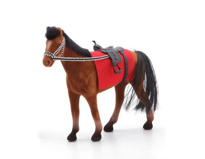 Bondibon Флокированная игрушка Лошадь с седлом и уздечкой 20 смФлокированная игрушка Лошадь с седлом и уздечкой 20 смФлокированная игрушка Лошадь с седлом и уздечкой.  Пластиковая фигурка лошади с упряжью подойдет в первую очередь девочке, чтобы катать на ней своих любимых кукол. Лошадка ростом 20 см будет как раз по размеру для кукол Барби и их схожих по размерами аналогов.   Игрушка выполнена из качественного пластика и покрыта мягким флоком, делающим ее очень приятной на ощупь и похожей на настоящую лошадку.   Также в комплекте имеется веревочная уздечка и седло из кожезаменителя.<br>