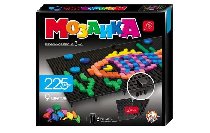 Десятое королевство Мозаика фигурная 2 поля 225 деталейМозаика фигурная 2 поля 225 деталейМозаика фигурная с удобными разноцветными фишками. Игра с этой мозаикой стимулирует воображение, пространственное мышление, тренирует моторику рук, а так же терпение и усидчивость.  В набор входит 2 игровых поля и 225 шт ярких фишек девяти цветов.<br>
