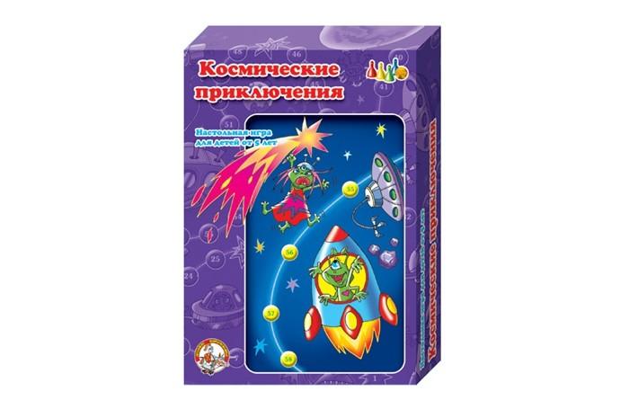 Десятое королевство Настольная игра Космические приключенияНастольная игра Космические приключенияНастольная игра Космические приключения для игр с детьми от трех лет. Она поможет обучить ребенка считать до шести, а с космическими персонажами можно придумать свои неповторимые истории.  Правила в этой ходилке просты - бросается кубик, и игроки по очереди продвигают свои фишки по игровому полю на то количество шагов, которое выпало на кубике.  Игра развивает воображение, внимательность и координацию движений, стимулирует в ребенке дух здорового соперничества.   В комплект входит игровое поле, 4 разноцветные фишки и шестигранный кубик.<br>