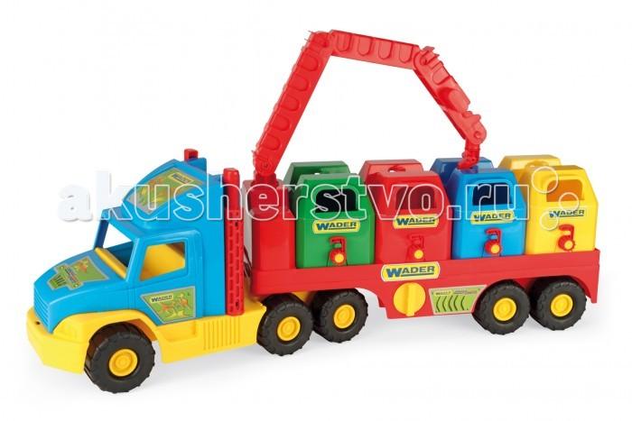 Wader Super Truck мусоровозSuper Truck мусоровозWader Super Truck мусоровоз. Игрушечный мусоровоз Super Truck приведет ребенка в восторг своим ярким дизайном, реалистичностью и функциональностью. В комплект входят 4 мусорных бака с крышкой, а также кран, которым можно снимать баки с подвижного прицепа.  Игрушечная машинка изготовлена из высококачественного пластика, устойчивого к погодным условиям, благодаря чему она может круглый год находится во дворе или на балконе.  Игрушечный мусоровоз полностью безопасен для маленьких детей, отличается высокой прочностью и малым весом.  Дополнительно на упаковке расположены элементы для вырезания.<br>