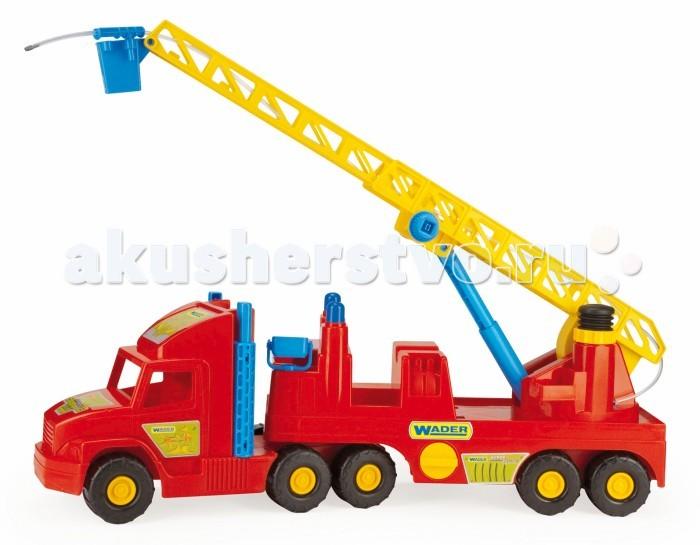 Wader Super Truck пожаркаSuper Truck пожаркаWader Super Truck пожарка. Игрушечная пожарная Super Truck - яркая, удобная, функциональная и прежде всего безопасная игрушечная машинка. Автомобиль оборудован выдвижной лестницей, вращающейся вокруг своей оси.   При нажатии на насос из пожарного шланга брызгает вода. Игрушка идеально подходит для разнообразных игр во дворе и в песочнице.  Все элементы изготовлены из высококачественного пластика, устойчивого к погодным условиям, благодаря чему игрушка может круглый год находиться во дворе или на балконе.<br>