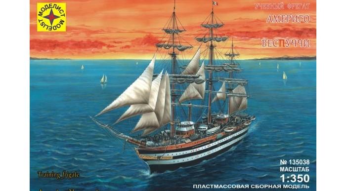 Конструктор Моделист Модель Корабль учебный фрегат Америго ВеспуччиМодель Корабль учебный фрегат Америго ВеспуччиАмериго Веспуччи – один из самых больших парусников в мире, который был построен на судоверфи недалеко от Неаполя в 1931 году.   Америго Веспуччи сильно отличается своим внешним видом от других учебных парусников. Более всего он напоминает линейный корабль XIX века: массивный черный корпус с двумя белыми полосами, плавно закругленная корма, позолоченные украшения и носовая фигура придают ему старинный вид. Кроме того, Веспуччи имеет полную корабельную оснастку, то есть несет прямые паруса на всех мачтах, что встречается в наши дни крайне редко.  Из деталей, которые входят в комплект, можно собрать полноценный корабль, выполненный в масштабе 1:350.  Моделирование – не только увлекательное, но и полезное хобби, которое развивает мышление и воображение, мелкую моторику рук.  Внимание! Клей, краски, кисточка в набор не входят, приобретаются отдельно.<br>