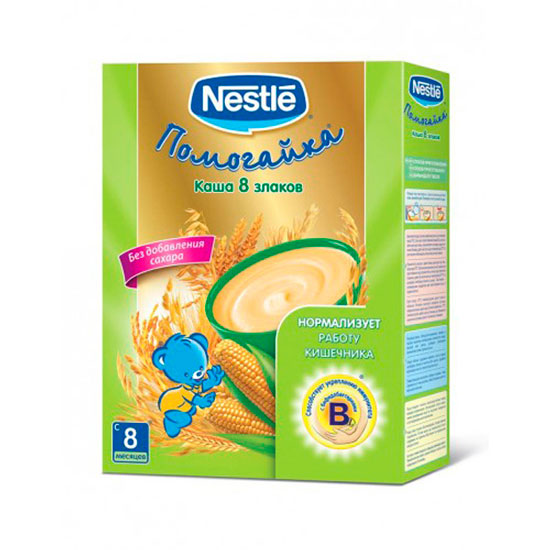 Каши Nestle Безмолочная каша Помогайка 8 злаков с бифидобактериями с 8 мес. 250 г