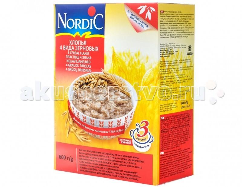 Nordic Безмолочная каша 4 злака хлопья 600 гБезмолочная каша 4 злака хлопья 600 гБезмолочная каша 4 злака хлопья - это сочетание традиционного вкуса, легкости и быстроты приготовления. Овес помогает работе кишечника, контролирует усвоение жира организмом. Пшеница содержит углеводы, различные белки, такие как лейкозип и глютенин, а также клетчатку, фосфор, калий, кальций, магний, витамины группы B1, Е и множество других полезных веществ. Ячмень служит ценным источником калия, магния, фосфора, многих других минеральных веществ, а также витаминов Е, РР, В4, В3, В6. Рожь содержит большое количество клетчатки, ускоряющей выведение шлаков из кишечника, помогает предотвратить целый ряд желудочно-кишечных заболеваний. Уникальная технология производства хлопьев «Nordic» позволяет сохранить полезные свойства цельного зерна и гарантирует изумительный вкус приготовленных блюд. Хлопья для каш Nordic не содержат консервантов, ароматизаторов и красителей. Состав: ржаные, пшеничные, ячменные и овсяные хлопья из цельного зерна. Особенности:Не содержит ГМИ, консервантов, ароматизаторов и красителей Время варки: 3 минутаЭнергетическая ценность: 310 ккал<br>
