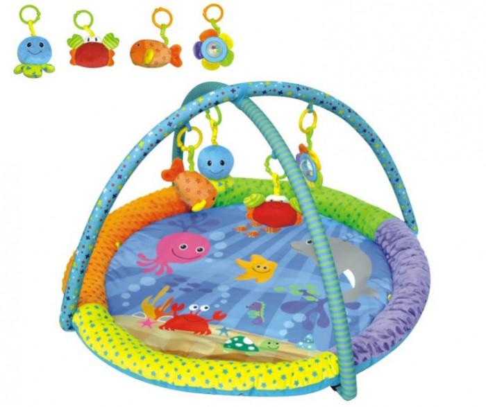 Развивающий коврик Parkfield Подводный мир 81538Подводный мир 81538Parkfield Игровой развивающий коврик Подводный мир  Разноцветная и разно фактурная ткань с изображениями животных, дуги, подвесные игрушки, все это привлечет внимание Вашего малыша. Игровой развивающий коврик Подводный мир со съемными игрушками и дугой предназначен для самых маленьких. С самого рождения ваш малыш может начать развивать полезные навыки, просто играя на таком коврике. Он оснащен мягкими дугами с подвесными игрушками. Ребенок с удовольствием играет с погремушками, разглядывает их. Подвесные элементы могут использоваться отдельно от коврика. Игры на коврике способствуют познавательному и двигательному развитию детей.  В комплект входят: игрушки для дуг: рыбка, которая от нажатия пищит осьминог игрушка погремушка черепаха игрушка погремушка шар погремушка внутри с разноцветными шариками игрушки на коврике: листик шуршун, под которым живет черепаха зеркало регулируемая громкость 4 дуги съемные которые имеют разно фактурную ткань  Размер: 86 х 86 х 48 см.<br>