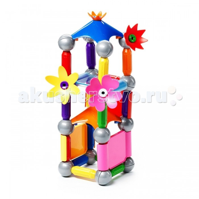 Конструктор Bondibon Специальный (Special) магнитный SmartMax набор: Цветочный дворецСпециальный (Special) магнитный SmartMax набор: Цветочный дворецМагнитный конструктор SmartMax/ Специальный (Special) набор: Цветочный дворец.  Увлекаться игрой воображения и получать от этого сто процентов удовольствия – вот задача такого конструктора!   Такой конструктор не только будет развлекать вашего малыша игрой, освобождая надолго вас от его требовательного внимания, но и познакомит вашего почемучку с принципом действия магнитов, и позволит собрать интересные модели, что не сможет не удивить родителей!   Детали во всех наборах крупные и легкие, поэтому они прекрасно подходят для малышей. Палочки имеют оболочку, сделанную из высококачественной пластмассы, и сердцевину – достаточно сильный магнит.   Магниты держатся внутри деталей очень прочно, и выпадение их во время игры исключено.<br>