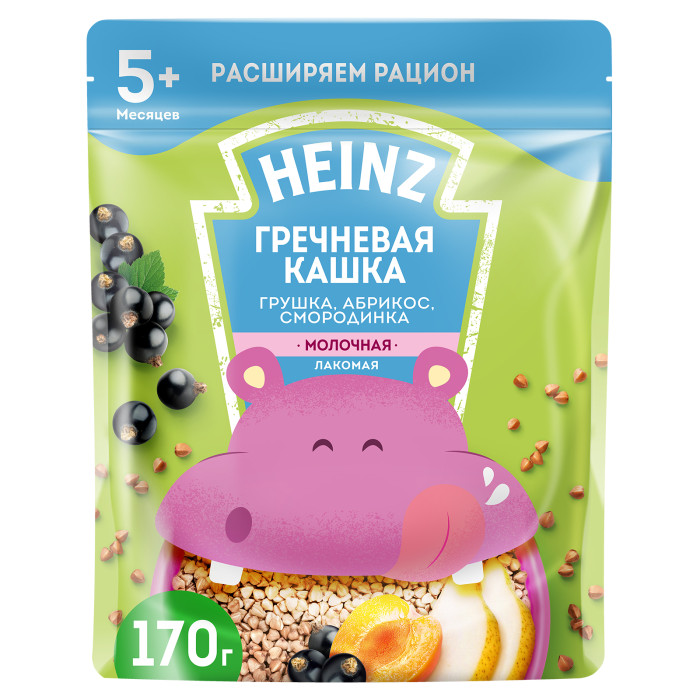 Heinz Молочная Лакомая гречневая кашка Грушка, абрикос, смородинка с 5 мес. 200 г