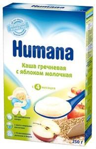 Humana Молочная Гречневая каша с яблоком с 4 мес. 250 гМолочная Гречневая каша с яблоком с 4 мес. 250 гКаша гречневая с яблоком молочная (Buchweizen-Apfel-Milchbrei) с 4 месяцев Без глютена, без добавления сахара, готовится на воде.  1) характеризуется сбалансированным составом;  2) обогащена необходимыми ребенку 13 витаминами (С, Е, А, D, В1, В2, В6, В12, К, фолиевая кислота, пантотеновая кислота, биотин, ниацин), минеральными веществами и микроэлементами (кальций, железо, йод);  3) при изготовлении используется сырье с гарантированным качеством и безопасностью;  4) не содержит компонентов, полученных с применением ГМО, искусственных красителей, ароматизаторов, консервантов;   для детей с 4 месяцев без глютена без добавления сахара и соли с 13 витаминами, кальцием, железом, йодом готовится на воде  Более 50 лет немецкая компания Humana обеспечивает традиционно высокое качество питания для детей c первых дней жизни.<br>
